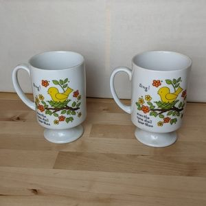 Vintage pair of mugs bird graphic with sing quote